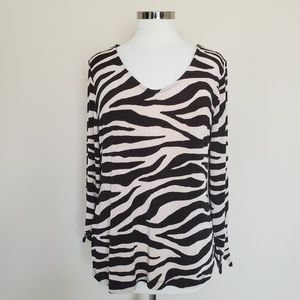 Chico's Travelers Size 2 Brown Zebra Print Large